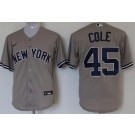 Youth New York Yankees #45 Gerrit Cole Gray Player Name 2020 Cool Base Jersey