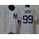 Youth New York Yankees #99 Aaron Judge White Player Name 2020 Cooperstown Collection Jersey