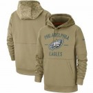 Youth Philadelphia Eagles Tan 2019 Salute to Service Sideline Therma Printed Pullover Hoodie
