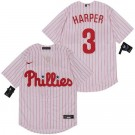 Youth Philadelphia Phillies #3 Bryce Harper White Stirpes 2020 Cool Base Jersey