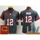 Youth Tampa Bay Buccaneers #12 Tom Brady Limited Pewter Captain Patch 2021 Super Bowl LV Bound Vapor Untouchable Jersey