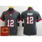 Youth Tampa Bay Buccaneers #12 Tom Brady Limited Pewter Captain Patch Vapor Untouchable Jersey