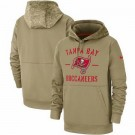 Youth Tampa Bay Buccaneers Tan 2019 Salute to Service Sideline Therma Printed Pullover Hoodie