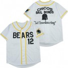 Youth The Bad News Bears #12 Chico's Bail Bonds Let Freedon Ring White Baseball Jersey