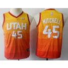 Youth Utah Jazz #45 Donovan Mitchell Orange City Icon Sponsor Swingman Jersey