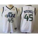 Youth Utah Jazz #45 Donovan Mitchell White Icon Sponsor Swingman Jersey
