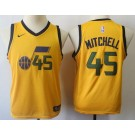 Youth Utah Jazz #45 Donovan Mitchell Yellow Icon Sponsor Swingman Jersey