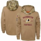 Youth Washington Redskins Khaki 2019 Salute to Service Therma Printed Pullover Hoodie